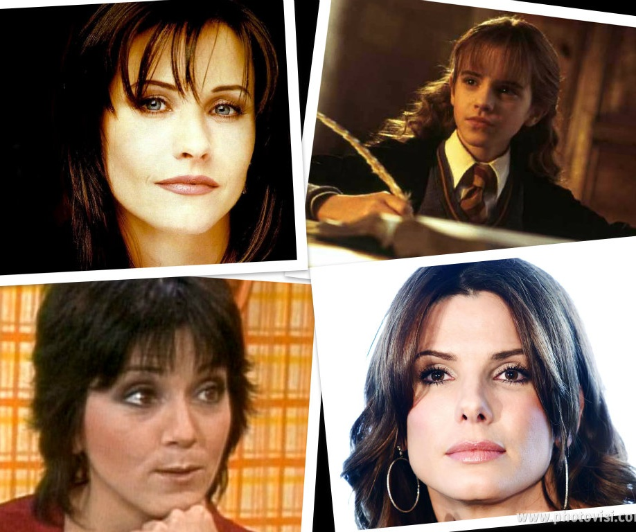 Nerdy Girl Next Door Brunettes. Courtney Cox, Emma Watson, Joyce Dewitt, Sandra Bullock