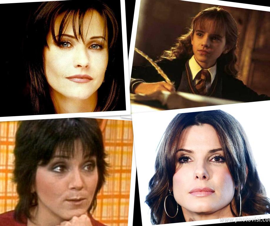 Nerdy Girl Next Door Brunettes. Courtney Cox, Emma Watson, Joyce Dewitt, Sandra Bullock